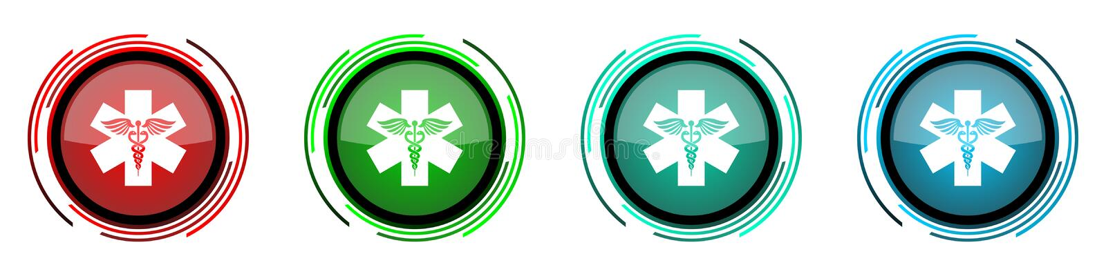 Emergency round glossy vector icons, set of buttons for webdesign, internet and mobile phone applications in four colors options. Isolated on white royalty free illustration