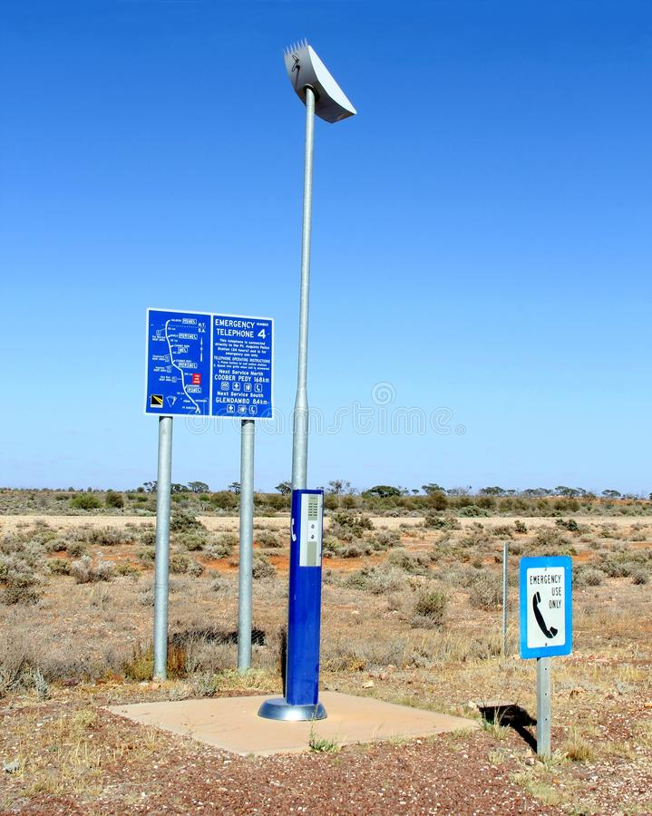 Emergency satellite telephone desert, Australia. Emergency satellite telephone along the Stuart Highway to ask for help in case of emergencies, accidents, floods stock photo