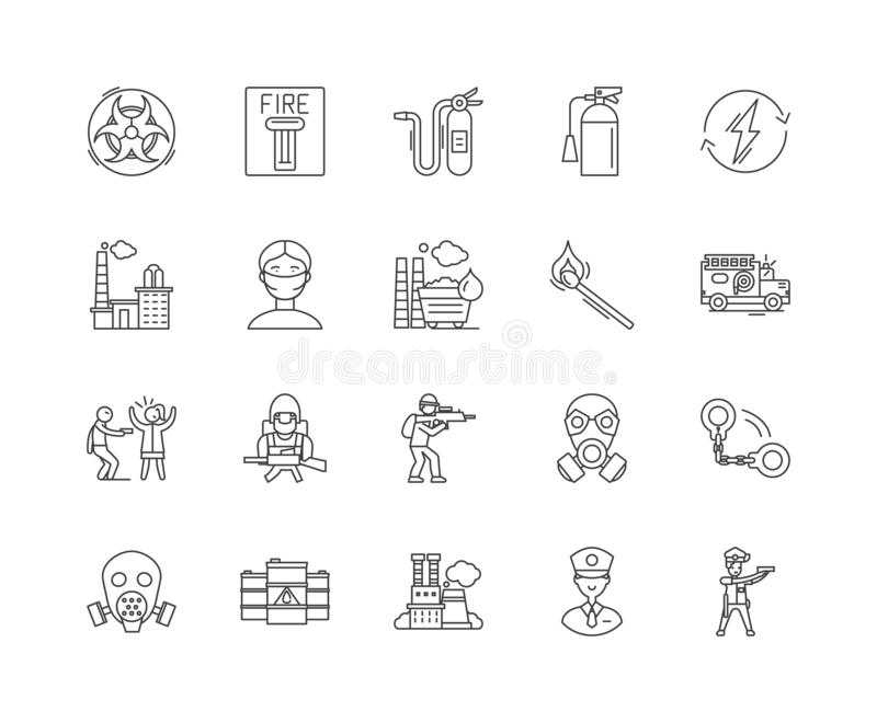 Emergency services line icons, signs, vector set, outline illustration concept. Emergency services line icons, linear signs, vector set, outline concept vector illustration