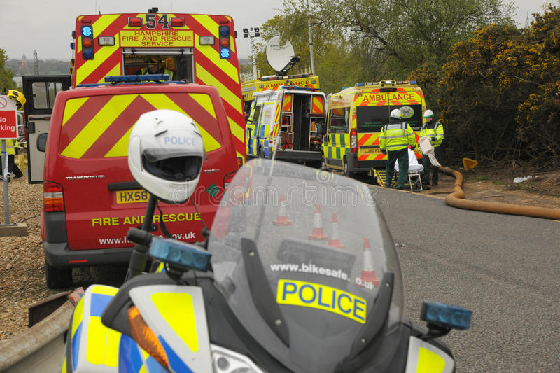 Emergency services at a major incident. England. May 2012. Emergency services at a major incident. Fire, ambulance and police vehicles royalty free stock images