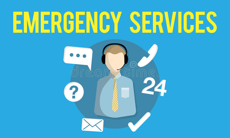 Emergency Services Urgency Helpline Care Service Concept stock illustration