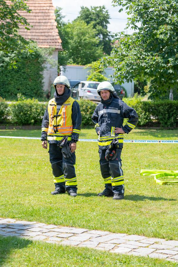 Emergency Services Workers train in joint action with Rescuers, Firemen, Police and Red Cross in Slovenska Bistrica stock photos