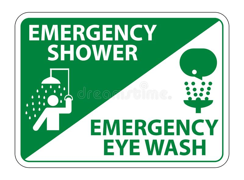 Emergency Shower,Eye Wash Symbol Sign Isolate On White Background,Vector Illustration EPS.10. Equipment, help, safety, health, rescue, water, station, aid vector illustration