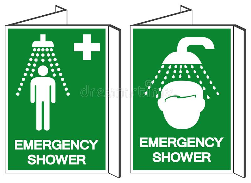 Emergency Shower Symbol Sign, Vector Illustration, Isolate On White Background Label. EPS10 stock illustration