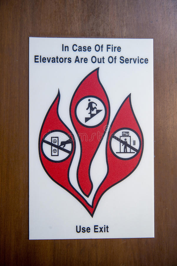 Emergency Sign - Elevator Fire stock photo