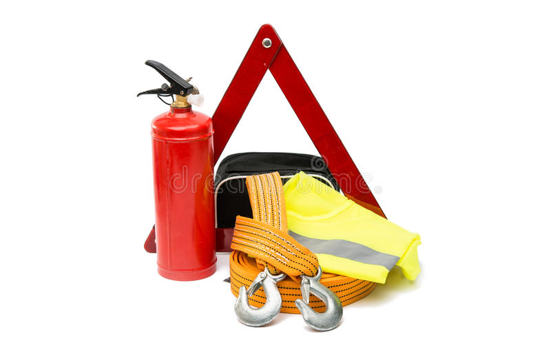 Emergency sign, first aid kit, fire extinguisher. On white background royalty free stock images