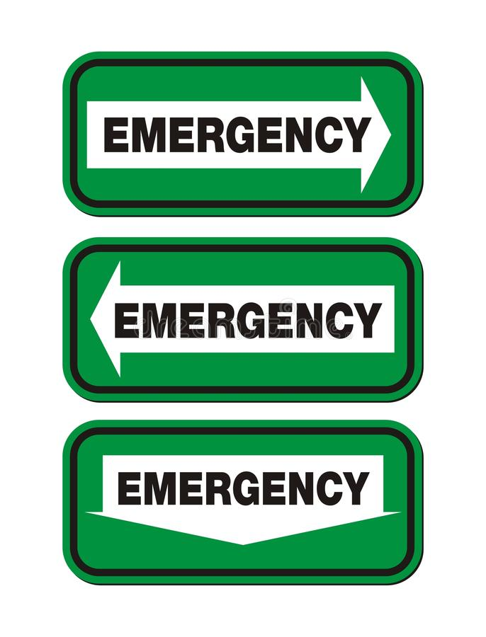 Emergency Signs - Green Sign Stock Images