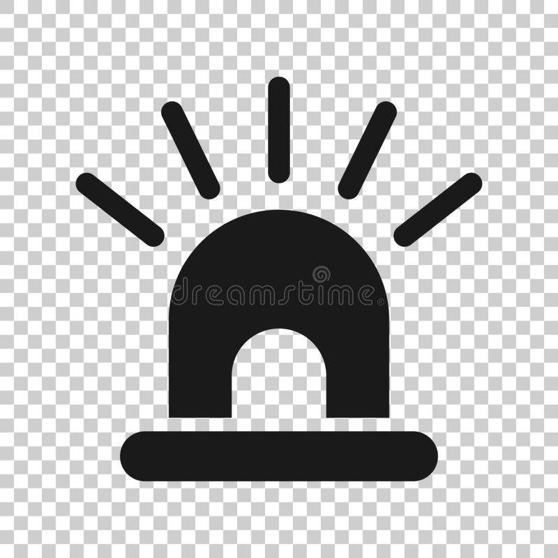 Emergency siren icon in transparent style. Police alarm vector illustration on isolated background. Medical alert business concept.  royalty free illustration