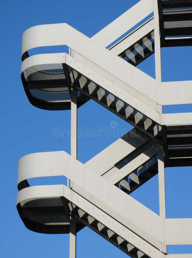 Emergency stairs. Against blue sky stock photo