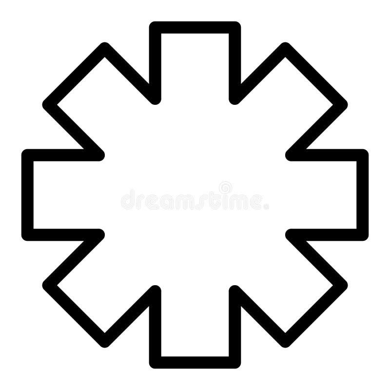 Emergency star line icon. Ambulance sign vector illustration isolated on white. Medical symbol outline style design stock illustration