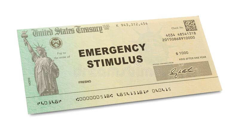 Emergency Stimulus Check. Isolated on White Background stock images