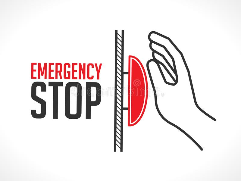Emergency stop button - concept icon. Hand pushing alarm stock illustration