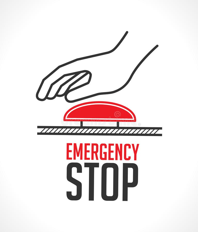Emergency stop button - concept icon. Hand pushing alarm vector illustration