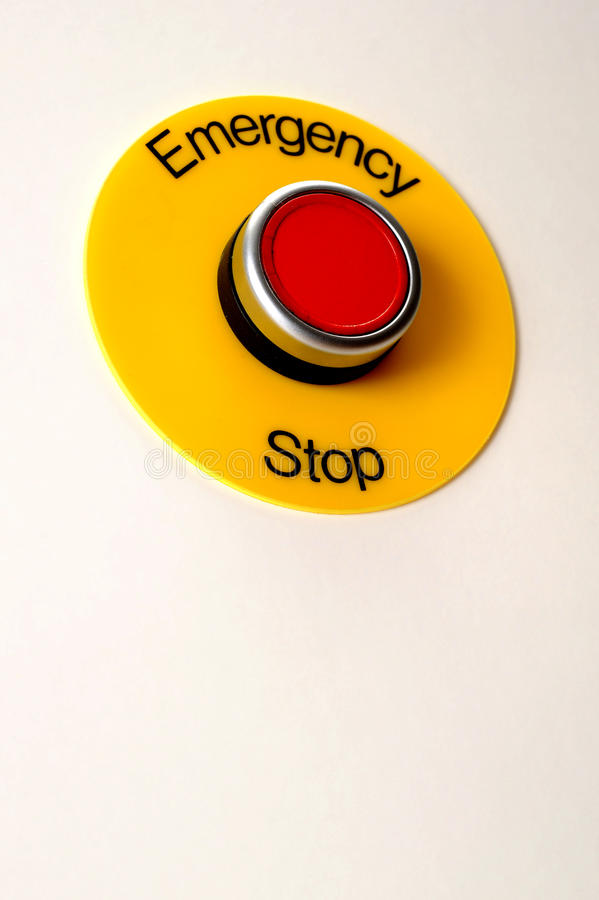 Emergency Stop Switch. Isolated on white background stock photography