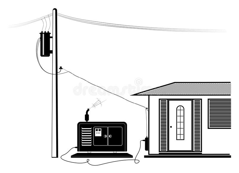 Emergency supply of the house with electricity from an autonomous generator. Power outage. royalty free illustration