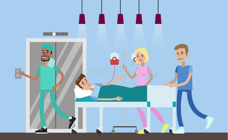 Emergency surgery illustration. Medical team take patient to operation room. Emergency surgery. Hospital hall interior. Vector flat illustration vector illustration