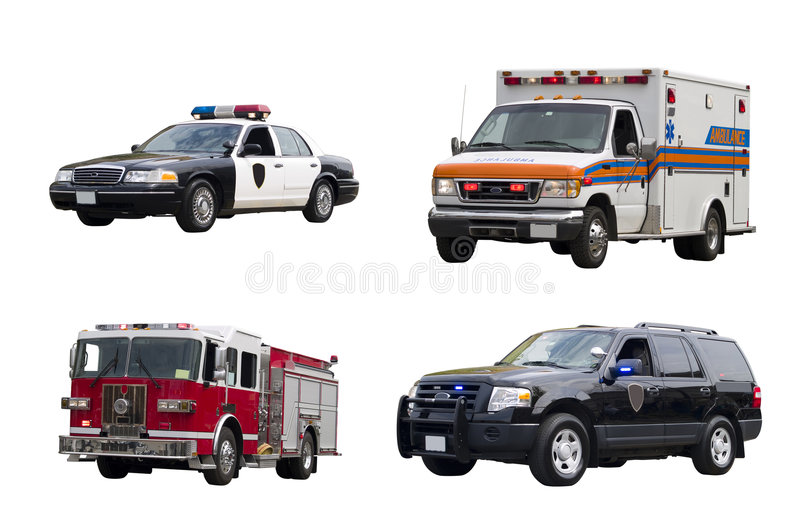 Emergency Vehicles Isolated. A set of emergency vehicles isolated on a white background stock photography