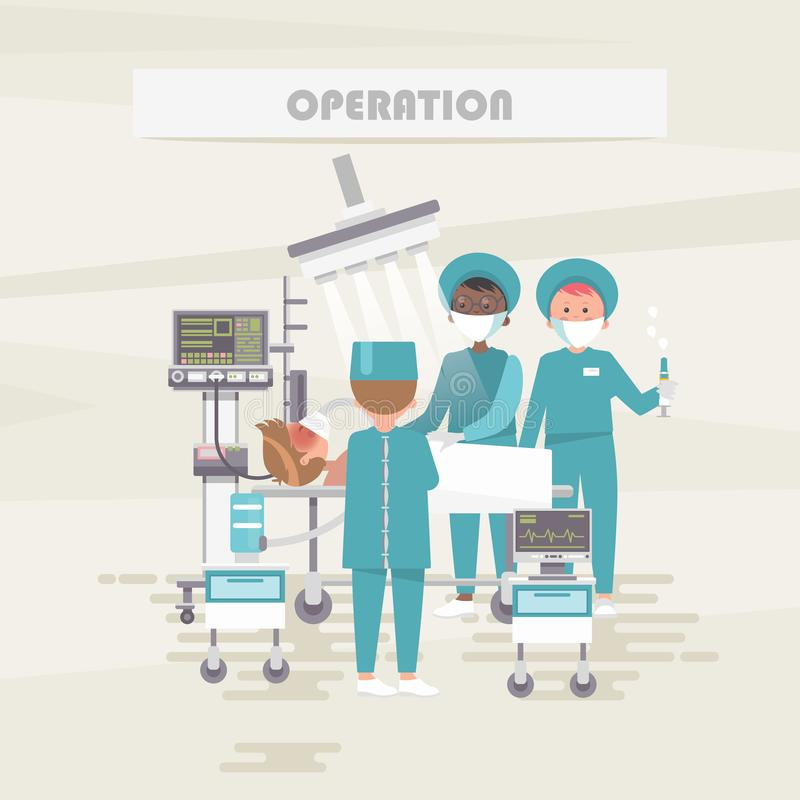 Operation and surgery. Medical vector concept. Healthcare and treatment illustration. Hospital office. Doctor and patient vector illustration
