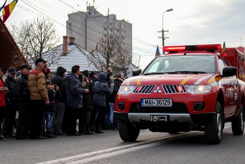 Emergenza militare del vehicule di parata di festa nazionale rumena fotografia stock libera da diritti