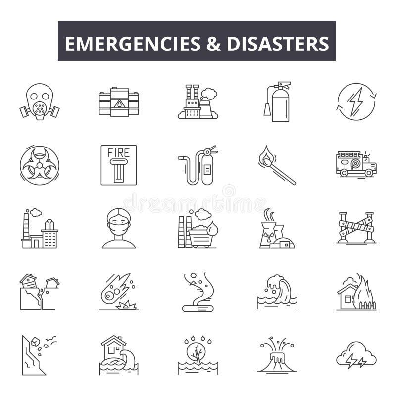 Emergincies和灾害排行象,标志,传染媒介集合,概述例证概念 库存例证