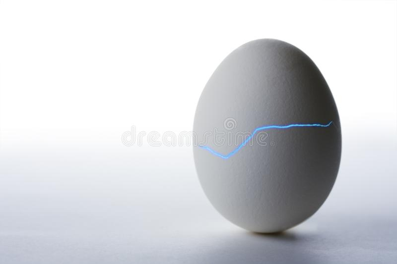 Emerging from an egg with blue glowing crack. On white background royalty free stock photography