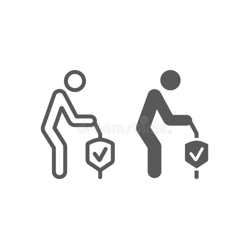 Emerytalna ubezpieczenie linia, glif ikona, istota ludzka i ochrona, starzy ludzie dbamy szyldowe, wektorowe grafika, liniowy wzó ilustracji
