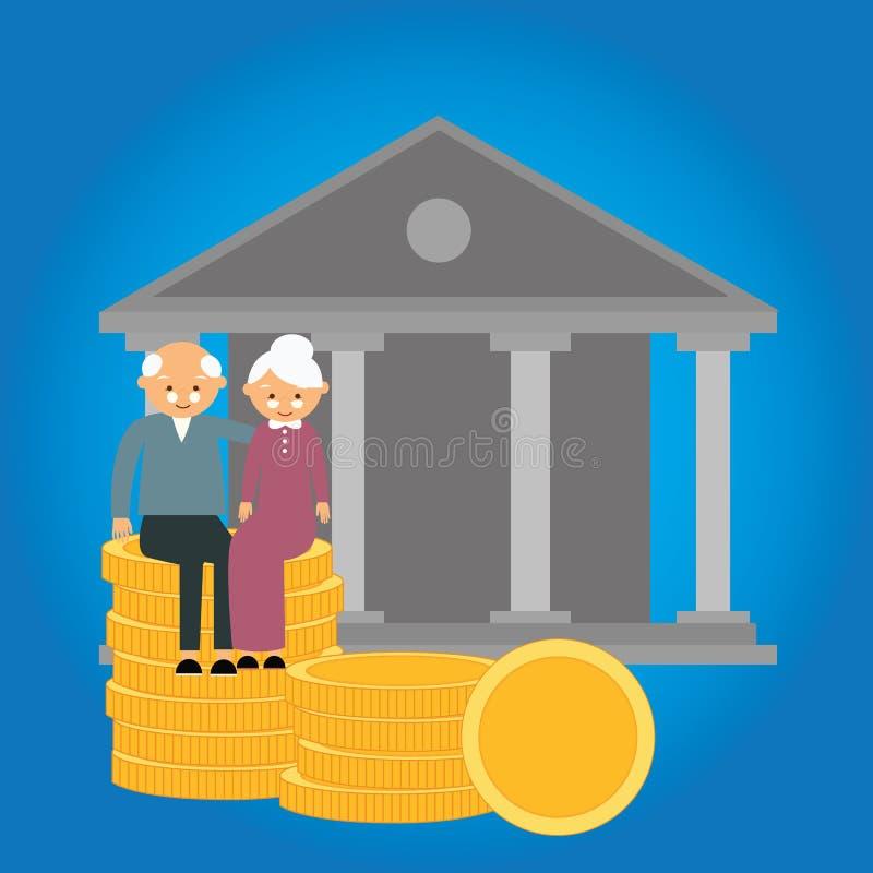 Emerytalnej fundusz emerytalny monety inwestyci finanse przygotowania pieniądze starsi savings ilustracja wektor