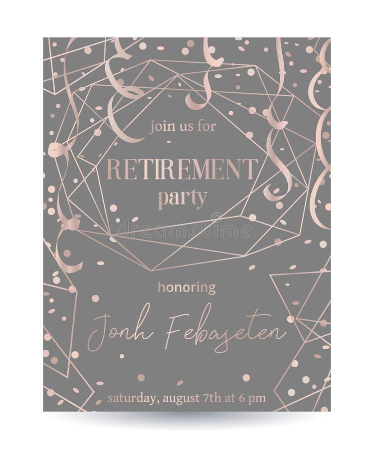 Emerytura przyjęcia zaproszenie Projektuje szablon z różaną złocistą poligonalną ramą, confetti i serpentyną, royalty ilustracja