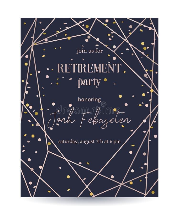 Emerytura przyjęcia zaproszenie Projektuje szablon z różaną złocistą poligonalną ramą i confetti royalty ilustracja