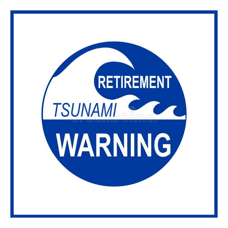 Emerytury tsunami znak ostrzegawczy odizolowywający zdjęcie royalty free