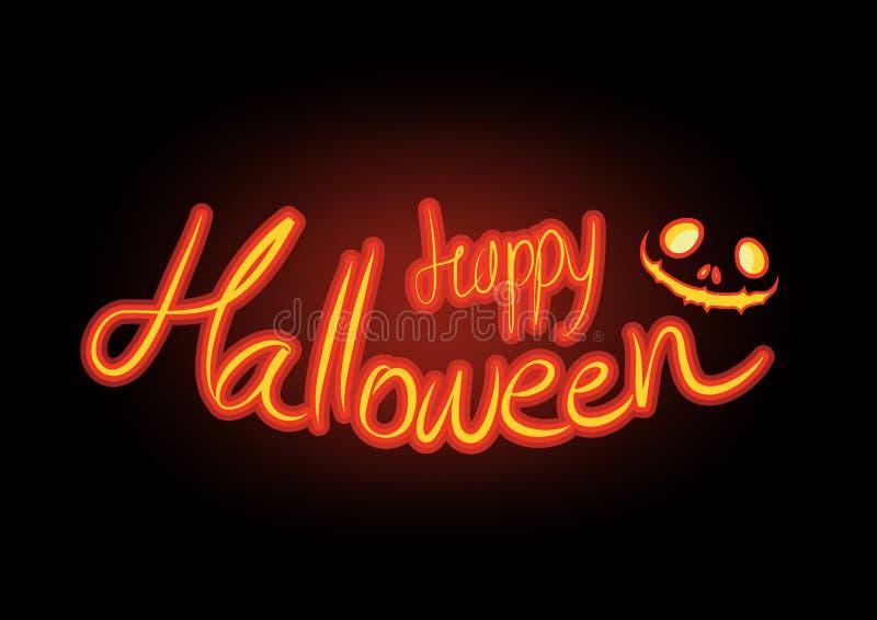 Emetta luce nella scrittura felice scura della mano di Halloween, iscrizione sul vettore scuro del fondo illustrazione di stock