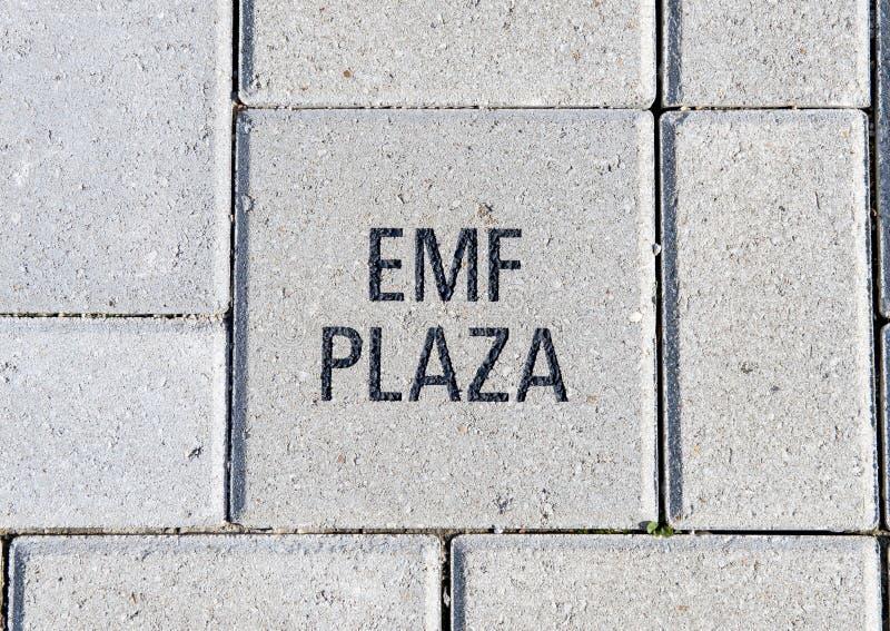 EMF placu cegła, EMF plac, obywatela ACEP kwatery główne, Dallas, Teksas obrazy stock