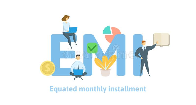 EMI, utożsamiająca miesięczna zaliczka Pojęcie z słowami kluczowymi, listami i ikonami, Płaska wektorowa ilustracja na białym tle ilustracji