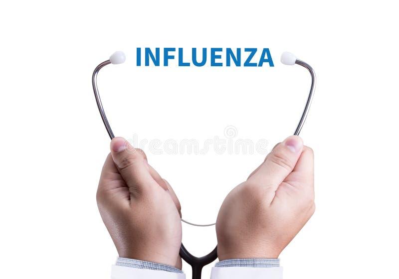 Emicrania a causa del virus dell'influenza, concetto medico di INFLUENZA fotografia stock