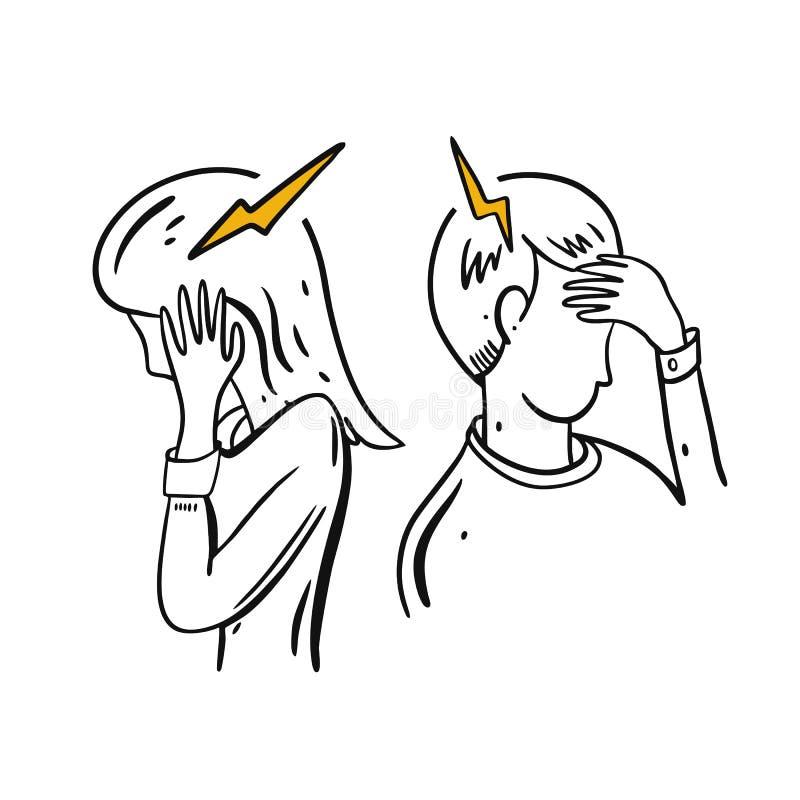Emicrania, emicrania Illustrazione disegnata a mano di vettore Stile del fumetto illustrazione vettoriale