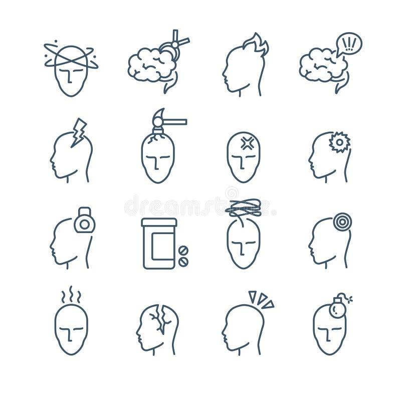 Emicrania, linea medica icone di trattamento di dolore di emicrania di vettore illustrazione vettoriale