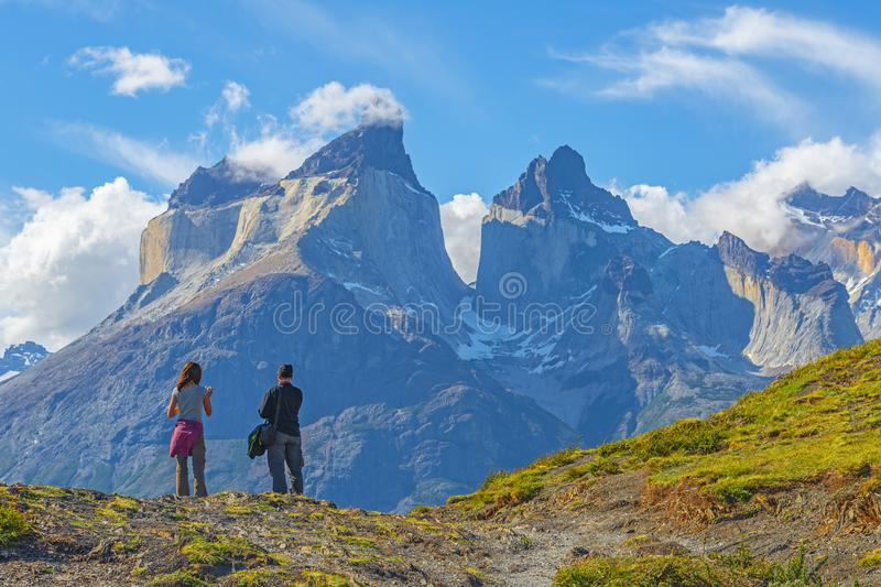 Emigrar aventura en Patagonia, Chile imagen de archivo