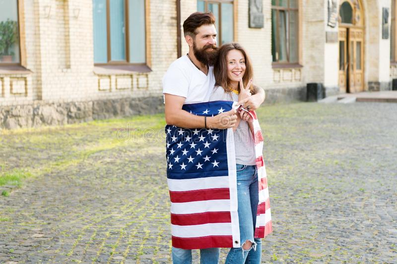 Emigration from the native country. Happy couple of emigrants on independence day of the us. Emigration for better royalty free stock images