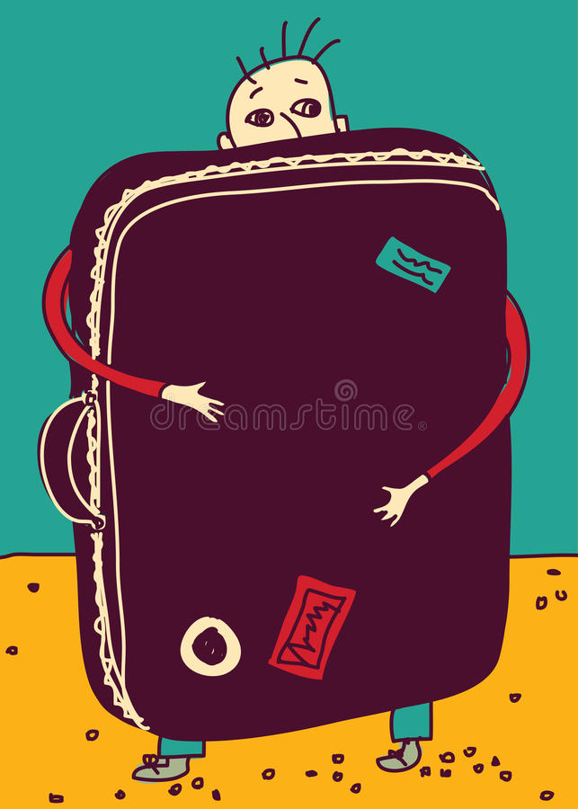 Emigration or travel man with suitcase color. Color vector illustration. EPS8 vector illustration