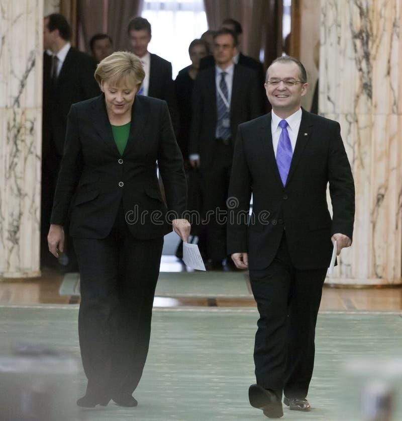 Emil Boc and Angela Merkel at Victoria Palace royalty free stock photo