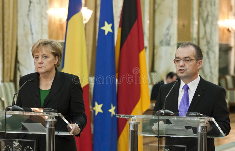 Emil Boc and Angela Merkel at Victoria Palace royalty free stock images