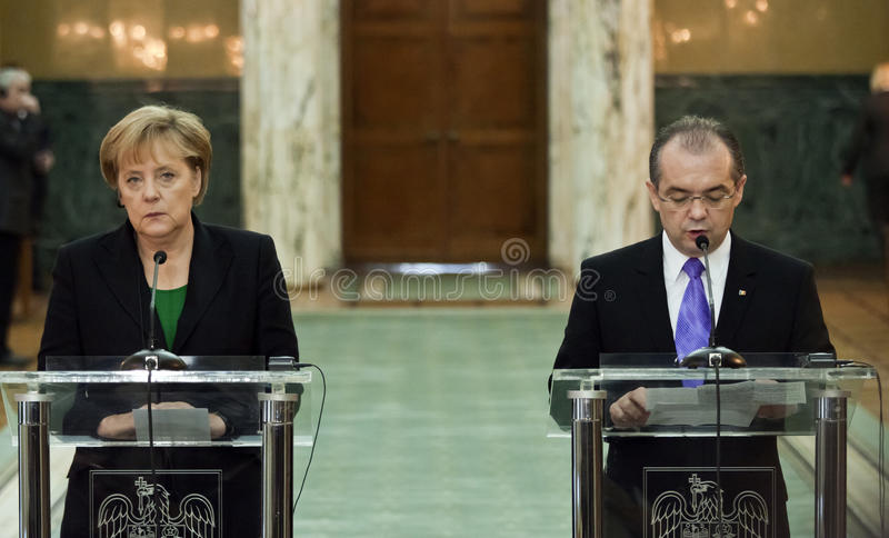 Emil Boc and Angela Merkel at Victoria Palace royalty free stock photos