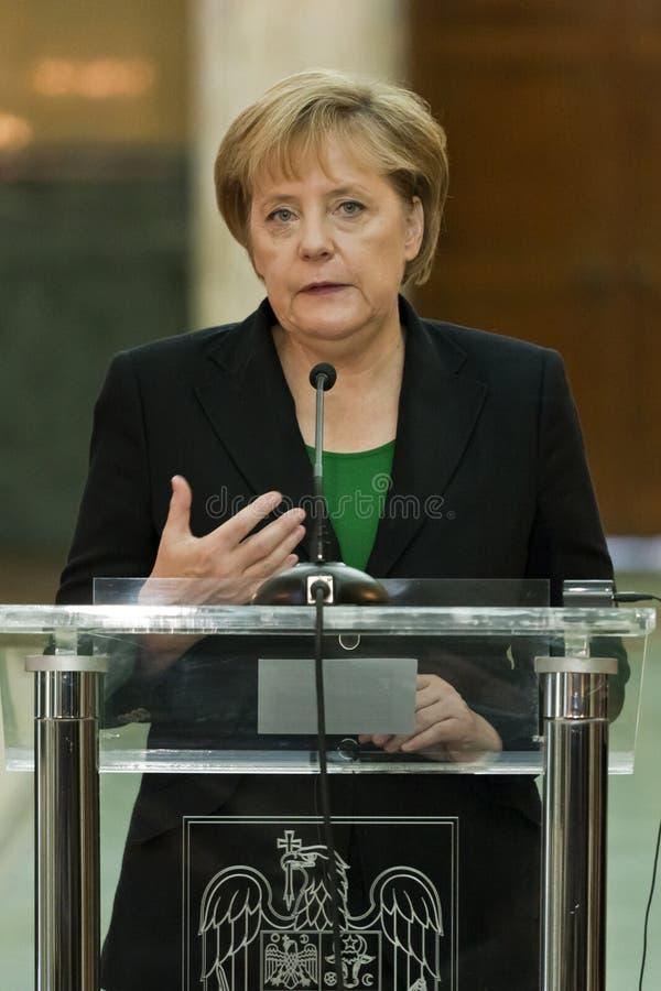 Emil Boc und Angela Merkel am Victoria-Palast stockbild