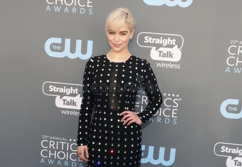 Emilia Clarke. At the 23rd Annual Critics` Choice Awards held at the Barker Hangar in Santa Monica, USA on January 11, 2018 stock photos