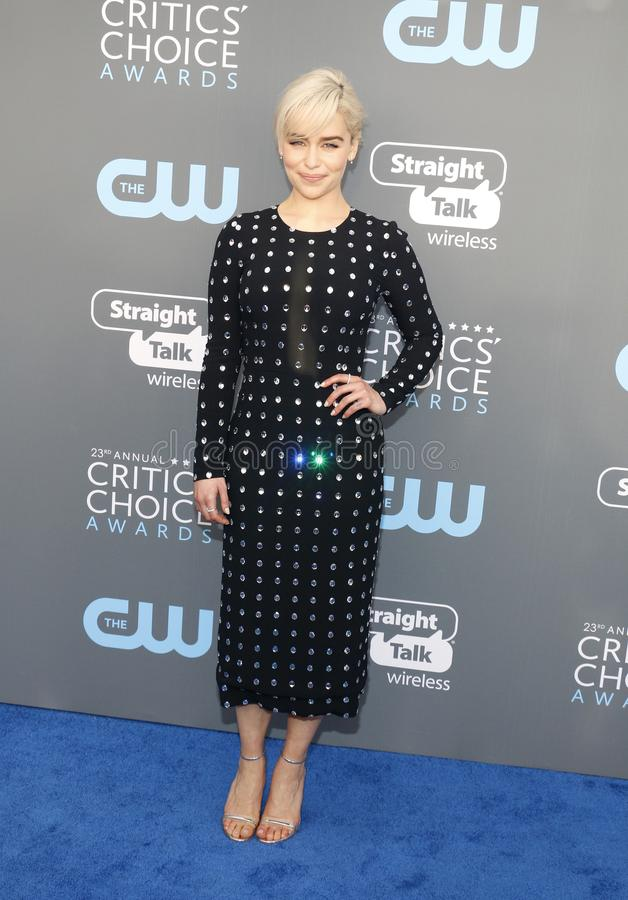 Emilia Clarke. At the 23rd Annual Critics` Choice Awards held at the Barker Hangar in Santa Monica, USA on January 11, 2018 stock images