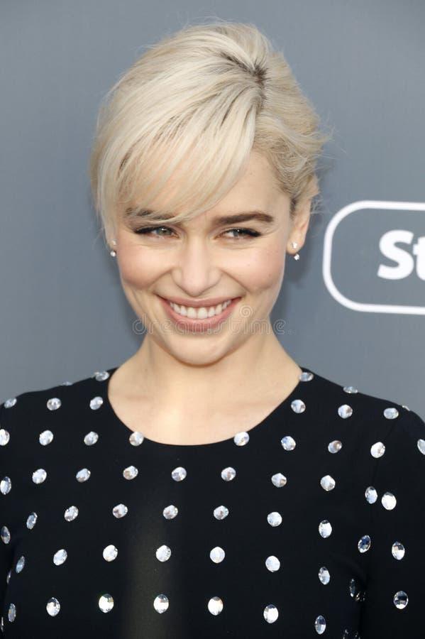 Emilia Clarke. At the 23rd Annual Critics` Choice Awards held at the Barker Hangar in Santa Monica, USA on January 11, 2018 stock image