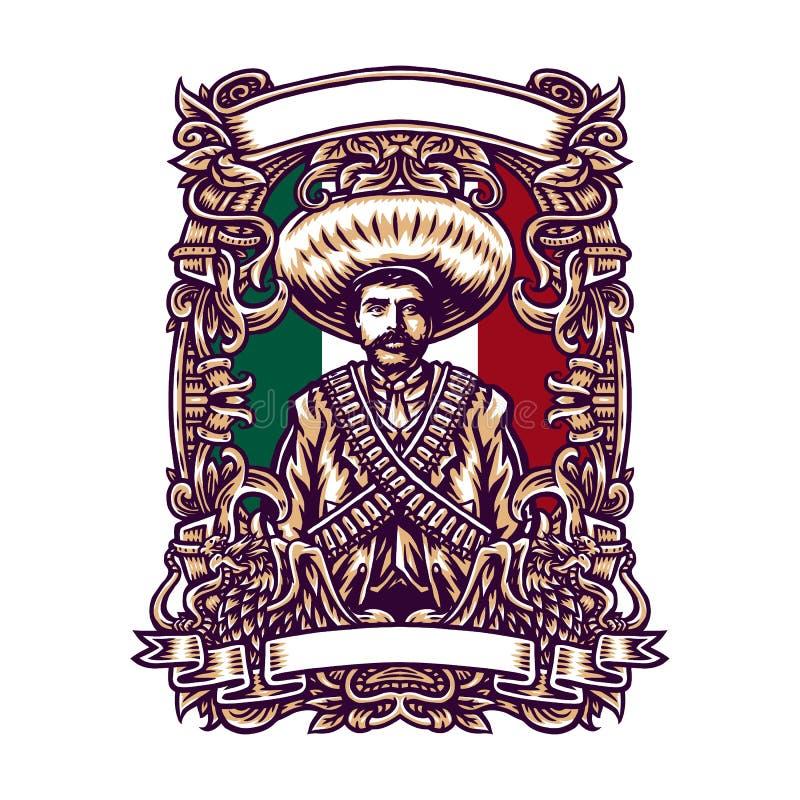 Emiliano zapata mexico, Vector illustration. Set of Emiliano zapata, Isolated on dark and bright background vector illustration
