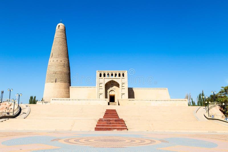 Emin minaret lub Sugong wierza w Turpan, jesteśmy wielkim antycznym Islamskim wierza w Xinjiang, Chiny obrazy royalty free