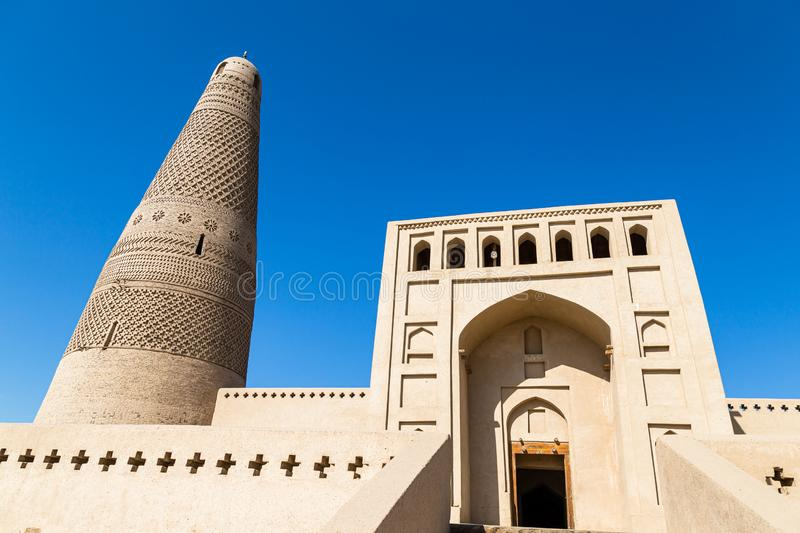 Emin minaret, or Sugong tower, in Turpan, is the largest ancient Islamic tower in Xinjiang, China. Built in 1777, its grey bricks form 15 different patterns royalty free stock image