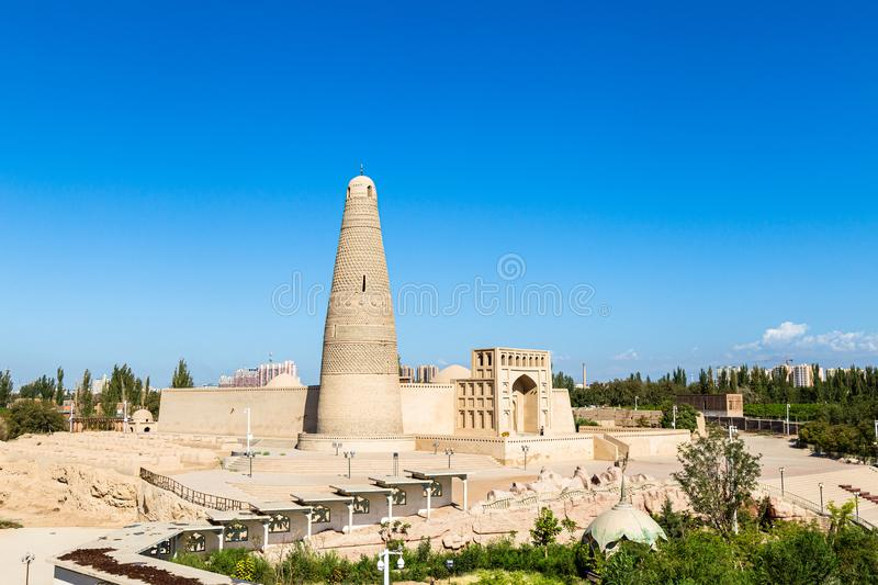 Emin minaret, or Sugong tower, in Turpan, is the largest ancient Islamic tower in Xinjiang, China. Built in 1777, its grey bricks form 15 different patterns stock image